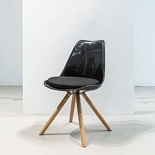AJMINI Moderne Esszimmerstühle, Esszimmerstühle mit Speisen, Modern Mid-Century Side Chair mit natürlichen Holzbeinen, für Küche, Wohn-Esszimmer, Schwarz (Color : A)