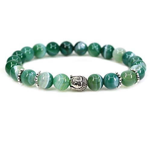 Green Banded Agate Crystal 8mm Round Beads with Silvery-Plated Alloy Buddha Head Hollow Petals Spacer Retro Stretch Bracelet 7 Inch
