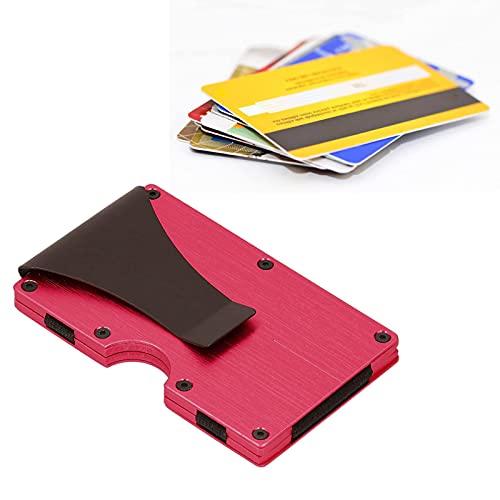 Oucity Tarjetero de metal para tarjetas de visita, portatarjetas de visita, con monedero y tarjetero, para hombre y mujer, 2 unidades (rojo)