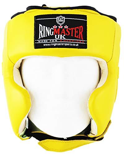 Ringmaster UK Casco da Boxe in Vera Pelle Giallo, Uomo Donna, Giallo