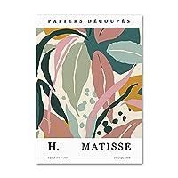 Matisse抽象色葉の花レトロなポスターとプリント現代の壁アート植物リビングルームの装飾写真のためのキャンバス絵画50x70cmx1フレームなし