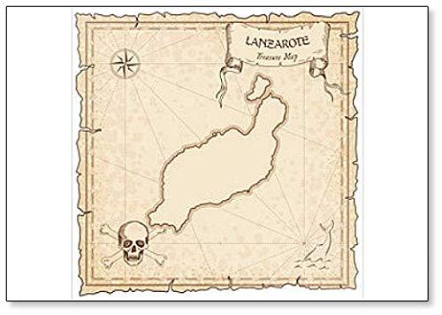 Lanzarote oude piraat kaart. Illustration Classic Koelkast Magneet