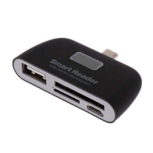 B Blesiya Lettore di Schede SD/TF con Adattatore 4-in-1 USB-A/Micro USB/Lettore Scheda per Android Cellulare Tablet eBook - Nero