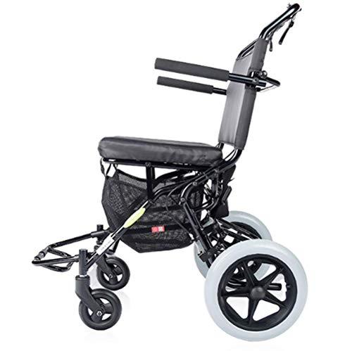Nuokix Luz Silla de Ruedas Plegable portátil de pequeño tamaño de Ancianos Viaje Ultraligero Vespa de conducción médica Aeronaves Tren Hdh Apto para Personas Mayores/discapacitados