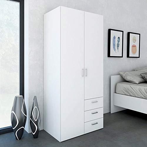 Esidra, Armadio Bianco con 3 cassetti, 78x49x175cm