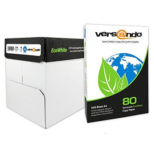 versando EcoWhite 80 2500 Blatt Papier A4 80g Öko-Weiß Kopierpapier Druckerpapier Laserpapier Faxpapier Duplex Umweltpapier