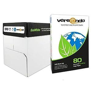 versando – 2500 folios de papel EcoWhite A4 80 g – papel para fotocopiadora, impresora, impresora láser, fax, papel…