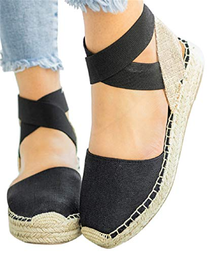 Thick Bottom Platform Sandals Shoes Women Summer Casual Strappy Wedge Sandals Closed Toe Shoes by Gyouanime Black