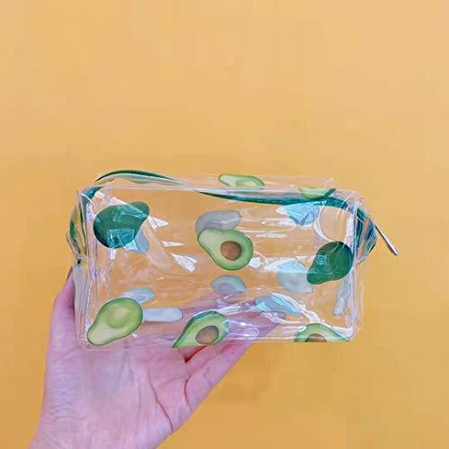 MENGYUAN Transparent PVC éTanche Sac CosméTique Femelle Portable De Bande DessinéE Grande Capacité Fille Stylo Sac De Rangement Sac Toilette Sac à Main 19 * 10 * 10 Cm 16#大牛油果化妆包