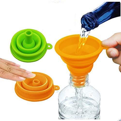 Meijubol Faltbarer Trichter Verdicken 2er-Set Silikon-Falttrichter BPA-frei mit weitem Mund für Wasserflasche Flüssiges Proteinpulver und Öltransfer