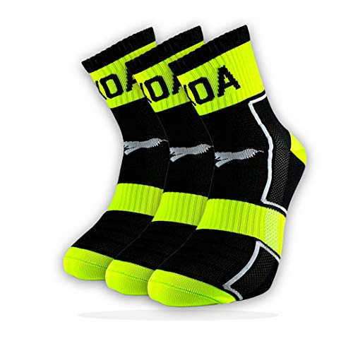 KOA ELITE Performance High visibility Cycling and Running Socks 3 PACK Light compression arch support for Men and Women All season Seat wicking Quick Dry sports sock YELLOW FEARLESS