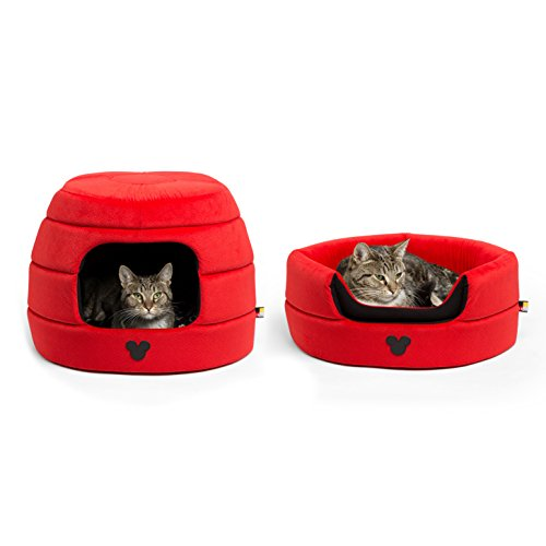 Disney Mickey Mouse 2-in-1 Honeycomb Hut Cuddler in Mickey Bobble, Red, Standard (Dog Bed/Cat Bed)