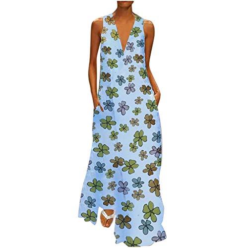 Lulupi Damen Kleider Boho Vintage Sommerkleid V-Ausschnitt Ärmelloses Ethnisch Print Strandkleider Leinenkleid Geblümtes Kleid mit Taschen Große Größe Maxi Lang