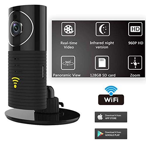 Mymemory Clever Dog Panorama 180 Degree View HD WiFi Smart Camera Security Monitor with iPhone/Android App - Black