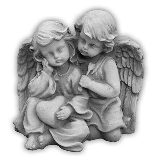 Massive Steinfigur Engelpaar Stein Engel aus Steinguss frostfest