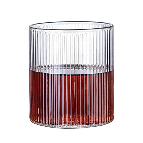 BUGIP Rayas Verticales Copa de Cristal Espresso Café Café Copa Copa Hecho A Mano Hecho A Mano Copa Tazas De Té Tazas De Leche Resistente al Calor Transparente Transparente (Color : 300ml)