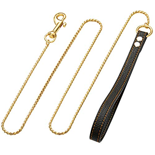 Petoo 3ft/4.5ft Metal Dog Leash,with Leather Handle, Gold Dog Leash,18K Gold Chew Proof Indestructible Strong Dog Leash,Cuban Link Dog Chain for Small/Medium/Large Dogs (4.5ft-(Width:4mm), Gold)