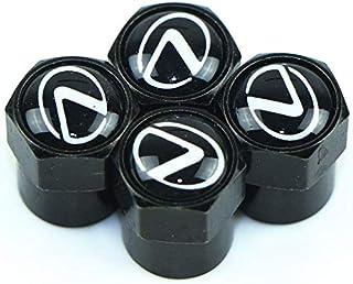 VIQILANY Zinc Alloy Chrome Car Wheel Tire Air Valve Caps Stems for Lexus (Black) - Set of 4 Pieces