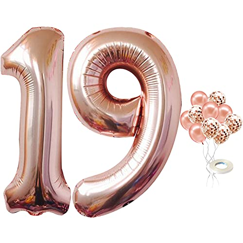 Number 19 Balloon for 19 Birthday Decorations - Rose Gold, Large, 40 inch, Pack of 12   Rose Gold Confetti Balloons   Rose Gold 19 Number Balloon for 19th Birthday Party Supplies, Girls, Women or Men