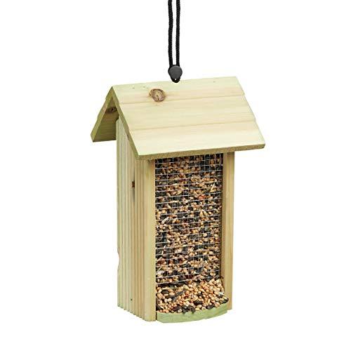 Relaxdays 10020730 Mangiatoia per Uccelli in Legno da Appendere Senza Supporto HLP: 26 x 15 x 15 cm ca. Casetta Uccellini Verde