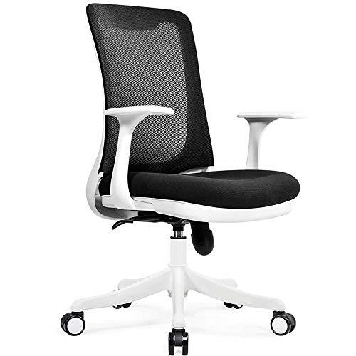 HJJK Sillas de ocio silla ergonómica de oficina Silla ejecutiva de malla Asiento de altura ajustable Rotar Silla de escritorio del ordenador durable fuerte, Color: Negro