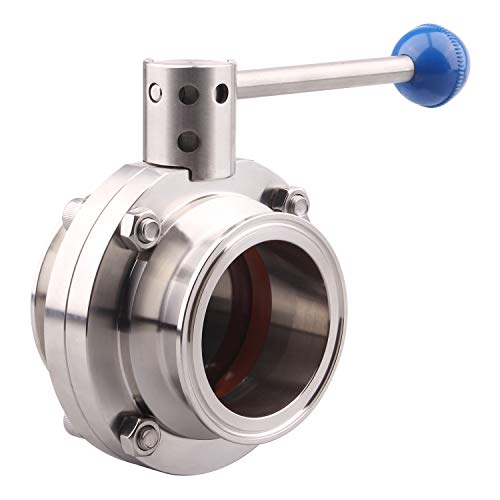 DERNORD Sanitary Butterfly Valve with Pull Handle Stainless Steel 304 Tri Clamp Clover (2.5 Tube OD)
