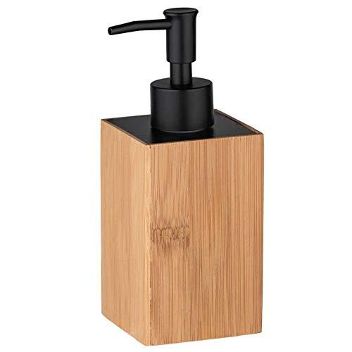 WENKO Padua - Dispensador de jabón líquido, dispensador de jabón, Capacidad 0,21 l, bambú, 8 x 18 x 7 cm, Color marrón