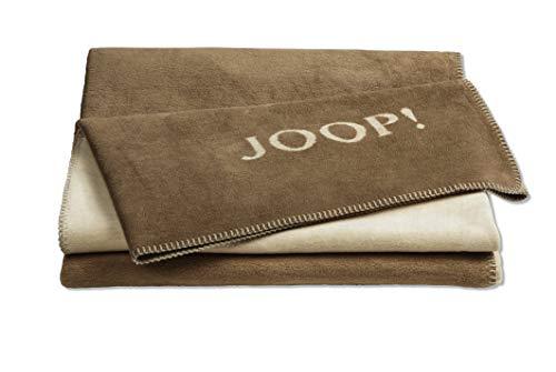 Joop!® Uni-Doubleface I flauschig-weiche Kuscheldecke Cashew-Macchiato I Wohndecke aus Baumwolle & Dralon® in braun I Tagesdecke 150x200cm | nachhaltig produziert in DE I Öko-Tex Standard 100