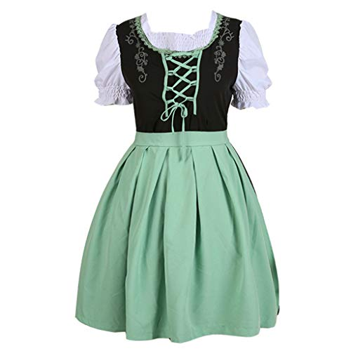 Women Oktoberfest Costume Girl Bavarian German Dirndl Maiden Dress Carnival Halloween Cosplay Party Waitress Clothes (L, Green)