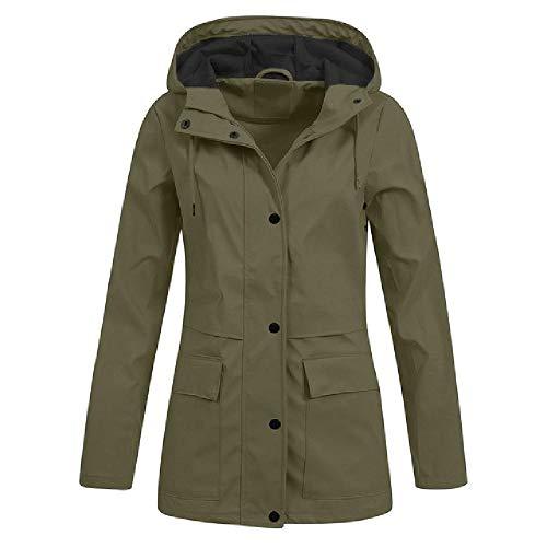 Chubasquero para mujer con capucha, impermeable, resistente al viento, abrigo largo para senderismo Verde verde L