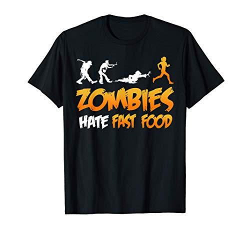 RUNNING 365 Zombies Hate Fast Food Funny Halloween Running T-Shirt