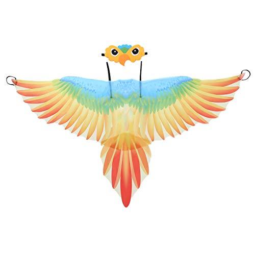 Agoky Kinder Papagei Set Vogel Flügel Bunt Cape Umhang und Augenmaske Cartoon Gesichtsmaske Cosplay Party Fasching Karneval Verkleidung Orange One Size