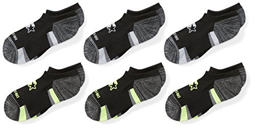 Starter Boys' 6-Pack Athletic No-Show Socks, Amazon Exclusive, Black, Small (Shoe Size 9-3.5)