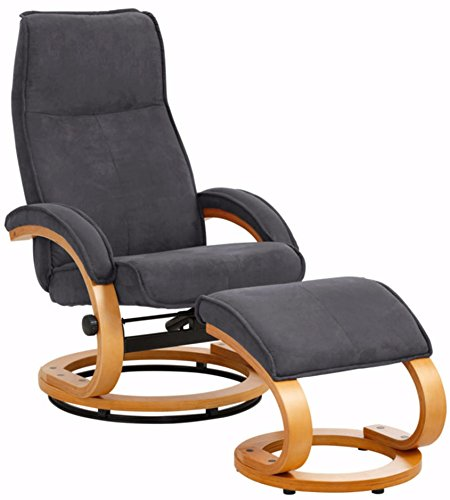 Loft24 A/S Relaxsessel Fernsehsessel Lesesessel Fußhocker Sessel mit Hocker (Microfaser, Grau, mit Relaxfunktion)