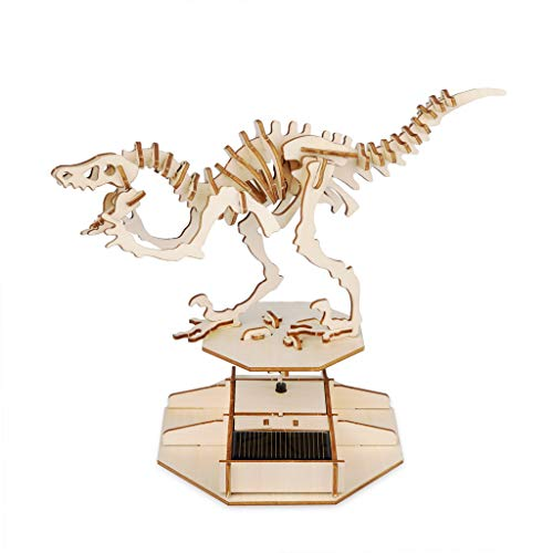 Balvi Puzle 3D Dinosaur Kit para Montar maqueta del Esqueleto de un Dinosaurio con Movimiento Funciona con luz Solar Velociraptor Madera 30cm