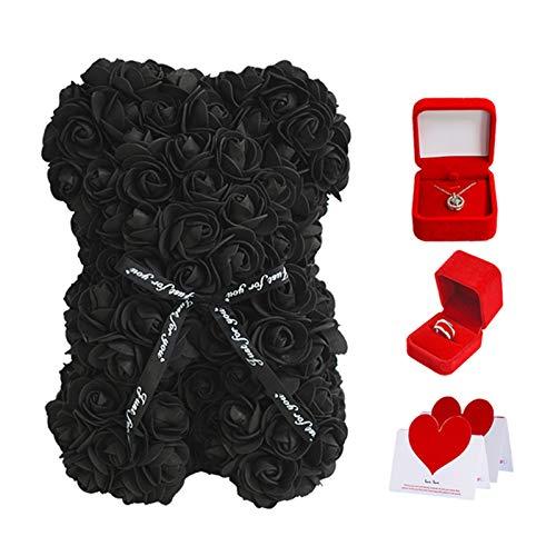 KUYG Valentinstag Geschenkset Rosenbär Sterling Silber Ring Projektionskette für Grilfriend Wife Romantisches Geschenk