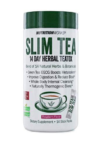 NutritionWorks Slim Tea 14-Day Herbal Teatox - Raspberry Flavor - 14 Stick Packets
