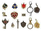 CoolChange Zelda - Caja de colección de joyas con 9 colgantes y anillo como collar o llavero con escudo y espada de Link