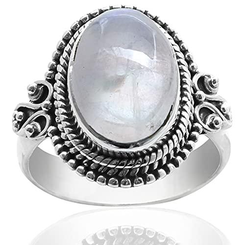 Silver Palace Anillo de plata de ley 925 natural con piedra lunar arco iris para mujeres y niñas