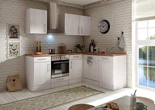 respekta Winkelküche Küchenzeile Küche L-Form Küche Landhausküche Weiß 220x172 cm