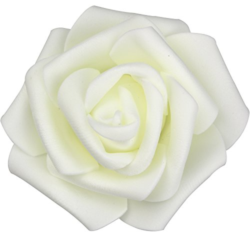 Lightingsky 7cm DIY Real Touch 3D Artificial Foam Rose Head Without Stem for Wedding Party Home Decoration (100pcs, Milky)