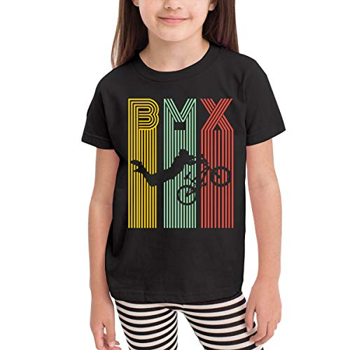 Camiseta de Manga Corta para niños BMX Boy Girl Camisetas Deportivas de béisbol(3T,Negro)