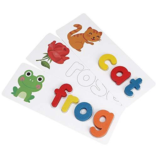 Woord bouwbord, houten letters blok met alfabet kaart educatief speelgoed voor kinderen Kleurrijke brief spelling bord woordenschat uitbreiding puzzel puzzelspel