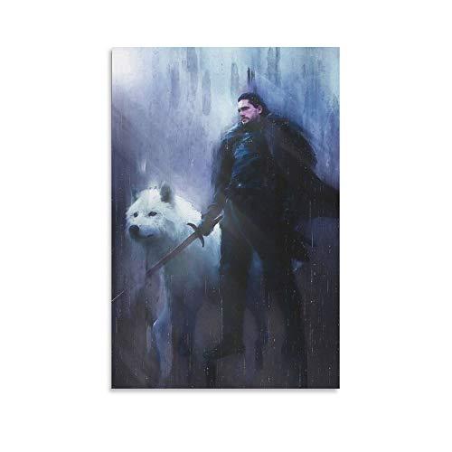 haocaitou Póster de Jon Snow de The White Wolf Game en lienzo y arte de pared, impresión moderna para decoración de dormitorio familiar de 20 x 30 cm