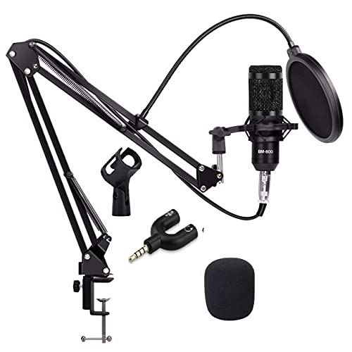 Techtest BM-800 Mic Kit Adjustable Mic Suspension Scissor Arm, Plastic Shock Mount and Double-Layer Pop Filter for Studio Recording & Brocasting & 3.5mm Audio Jack to Headphone Microphone Splitter