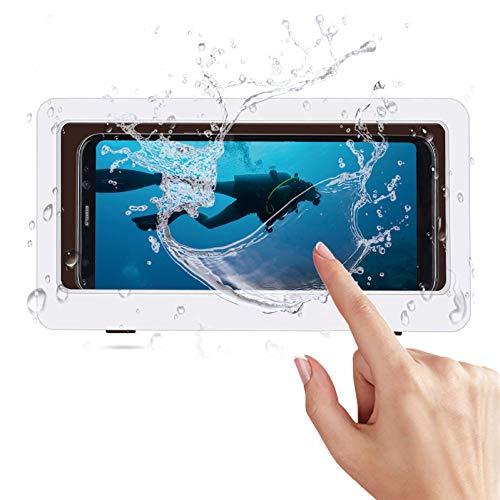 Schutzhülle für Dusche, Shower Phone Hülle für Handy an der Wand, Touchscreen, für Badezimmer, Handyhalterung, wasserdicht, für Handys bis 6,8 Zoll (6,8 Zoll), Weiß