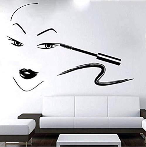 Muurstickers Art Decal Vinyl Murals Vrouw Schilderij Eyeliner Thuis Woonkamer Schoonheidssalon Rubber 82X57cm