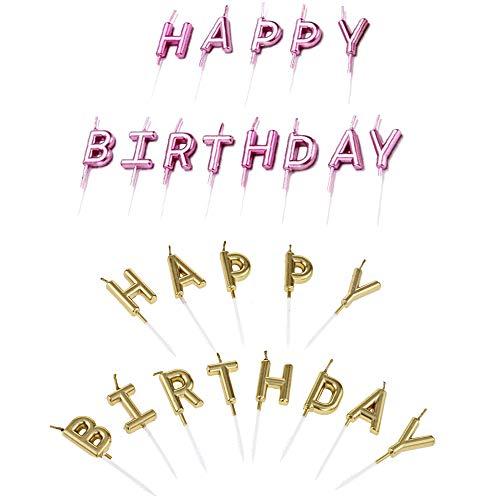 Her Kindness 2 Kisten Happy Birthday Buchstaben Kerzen Kuchen Geburtstag Geburtstagskerzen (Gold +Roségold)