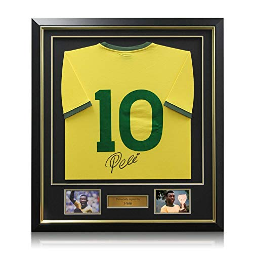 Pele Signed Number 10 Brazil Football Shirt. Deluxe Frame   Autographed Memorabilia