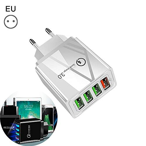 4-poorts snel snel opladen, 3.0 USB-hub-wandoplader Voedingsadapter, USB-oplader snel opladen voor iPhone X Samsung Xiaomi Huawei (white)